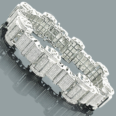Hip Hop Jewelry Mens Diamond Bracelet 350ct Silver