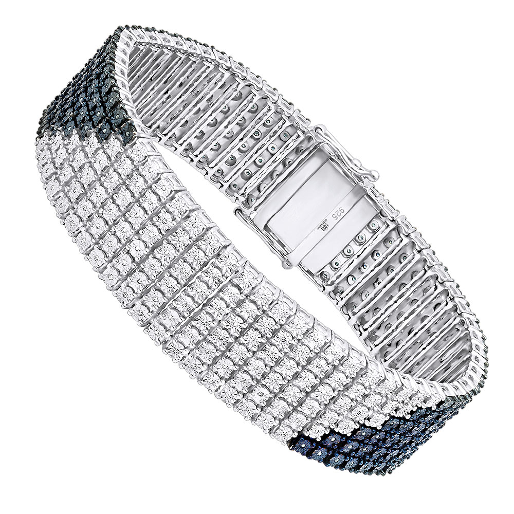 Hip Hop Jewelry: White Blue Diamond Bracelet for Men 1.23ct Silver White Image