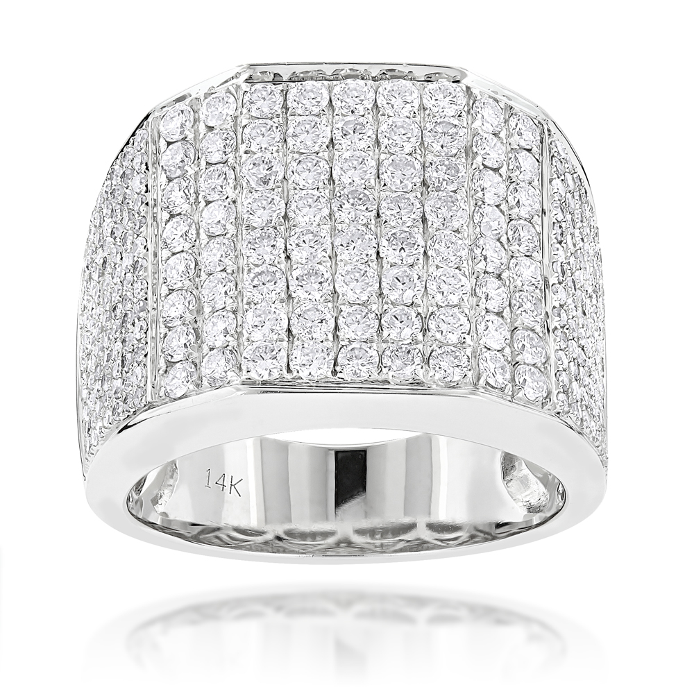 Iced Out Mens Diamond Ring 3 54ct 14k Gold