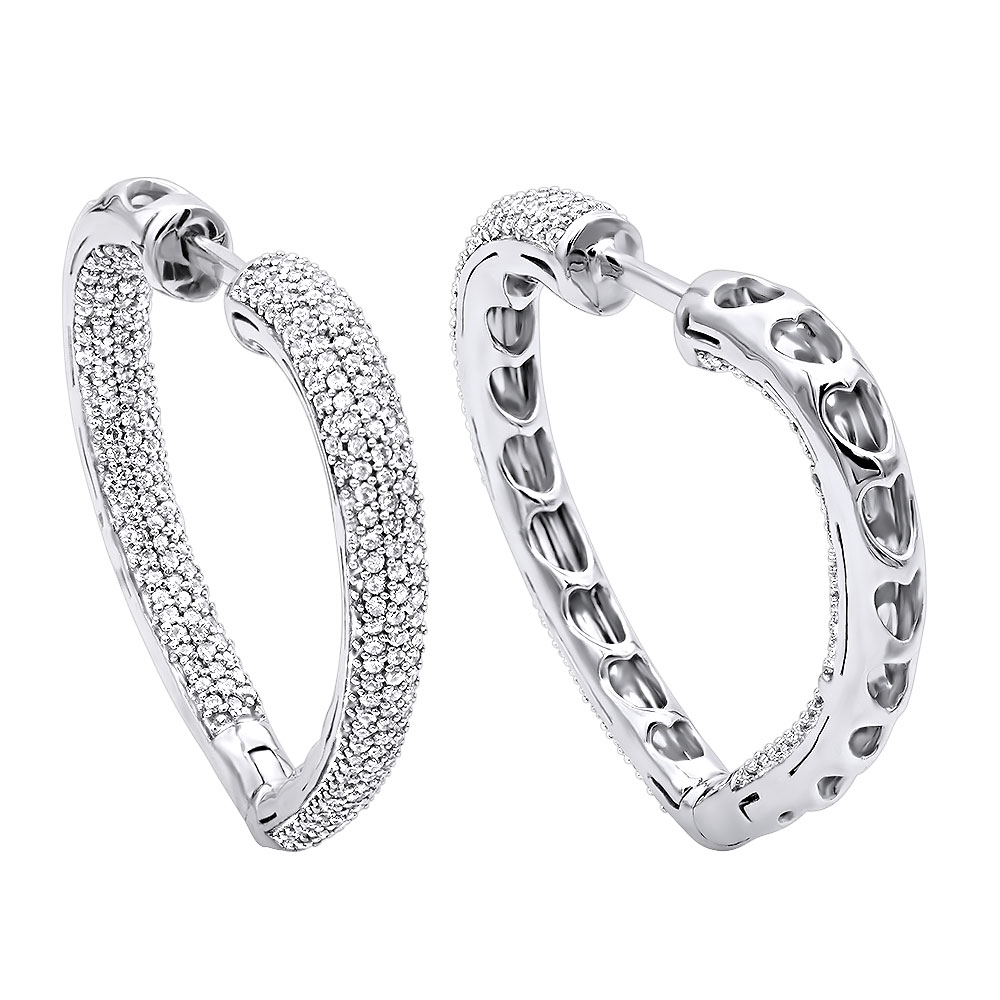 Inside Out Diamond Heart Earrings 1.35ct 14K Gold Hoops White Image