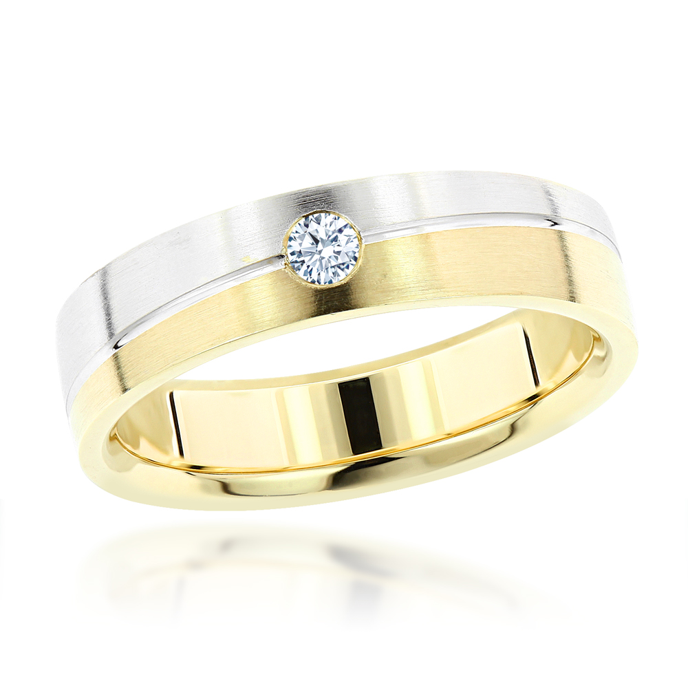 Inverse mens diamond wedding band 14k gold for Diamond mens wedding bands