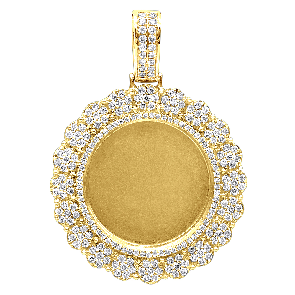 14K Gold Customizable Picture Frame Diamond Medallion Pendant 2.5Ct Yellow Image