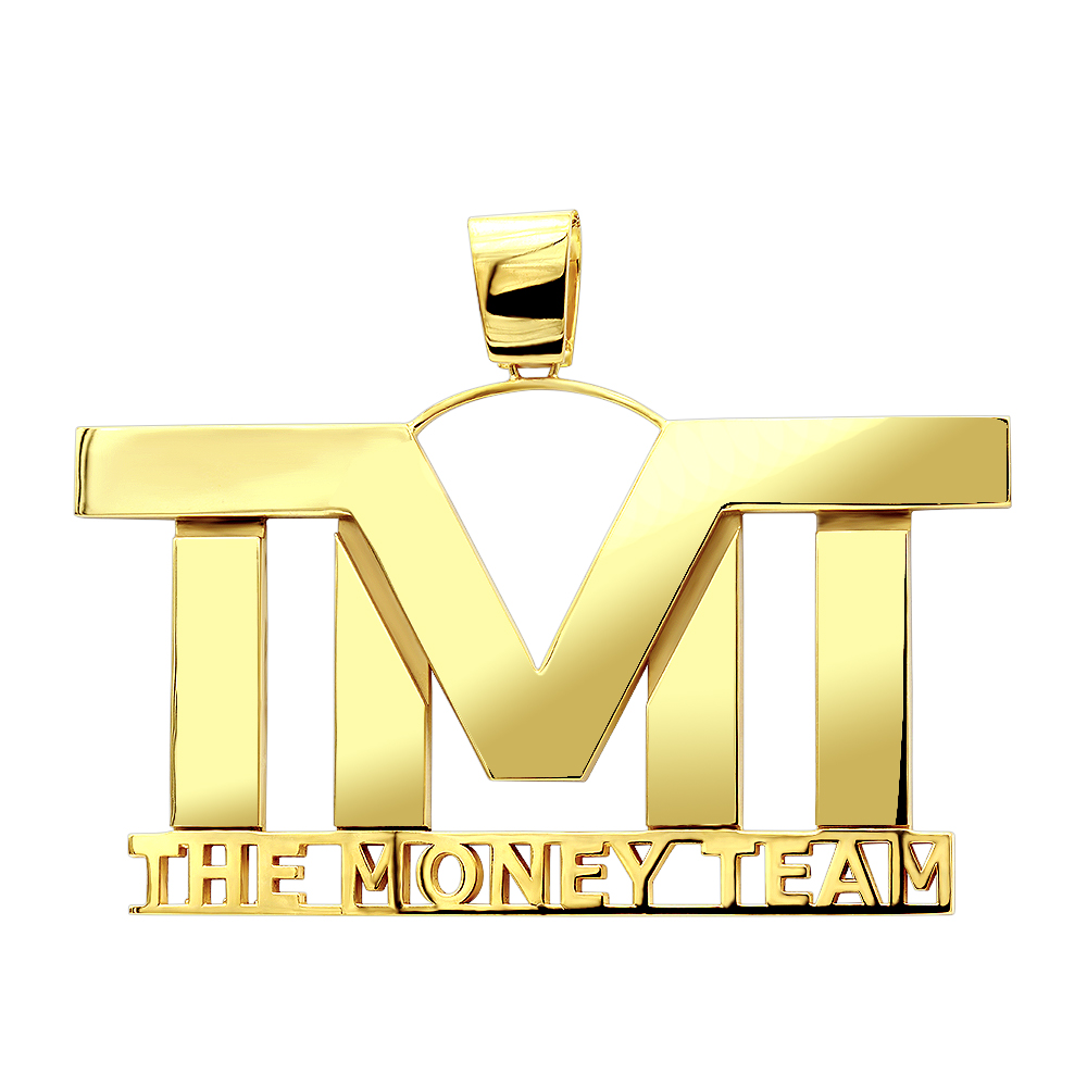 Custom Made Jewelry Large Solid 10K Gold Name Plate Pendant for Men Yellow Image