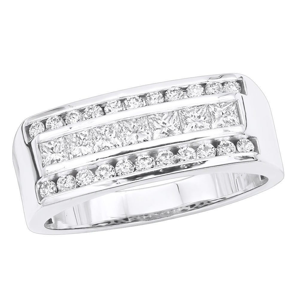 VS Round & Princess Cut Diamond Wedding Ring for Men 14k Gold Anniversary Band 1.5ct White Image