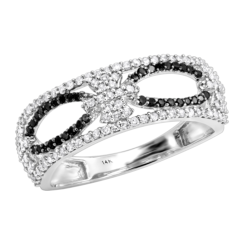 Ladies Black and White Diamond Ring 0.47ct 14K Gold White Image