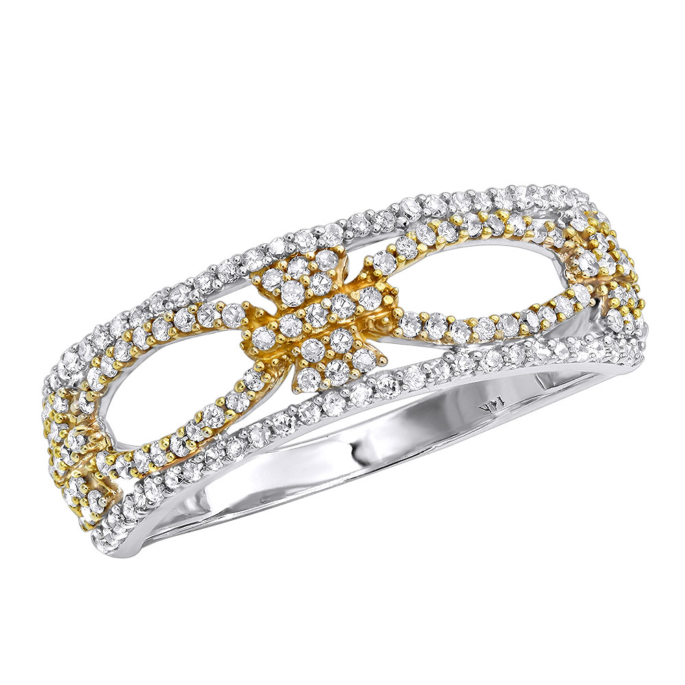 Ladies Diamond Flower Ring 0.46ct 14K Gold White Image