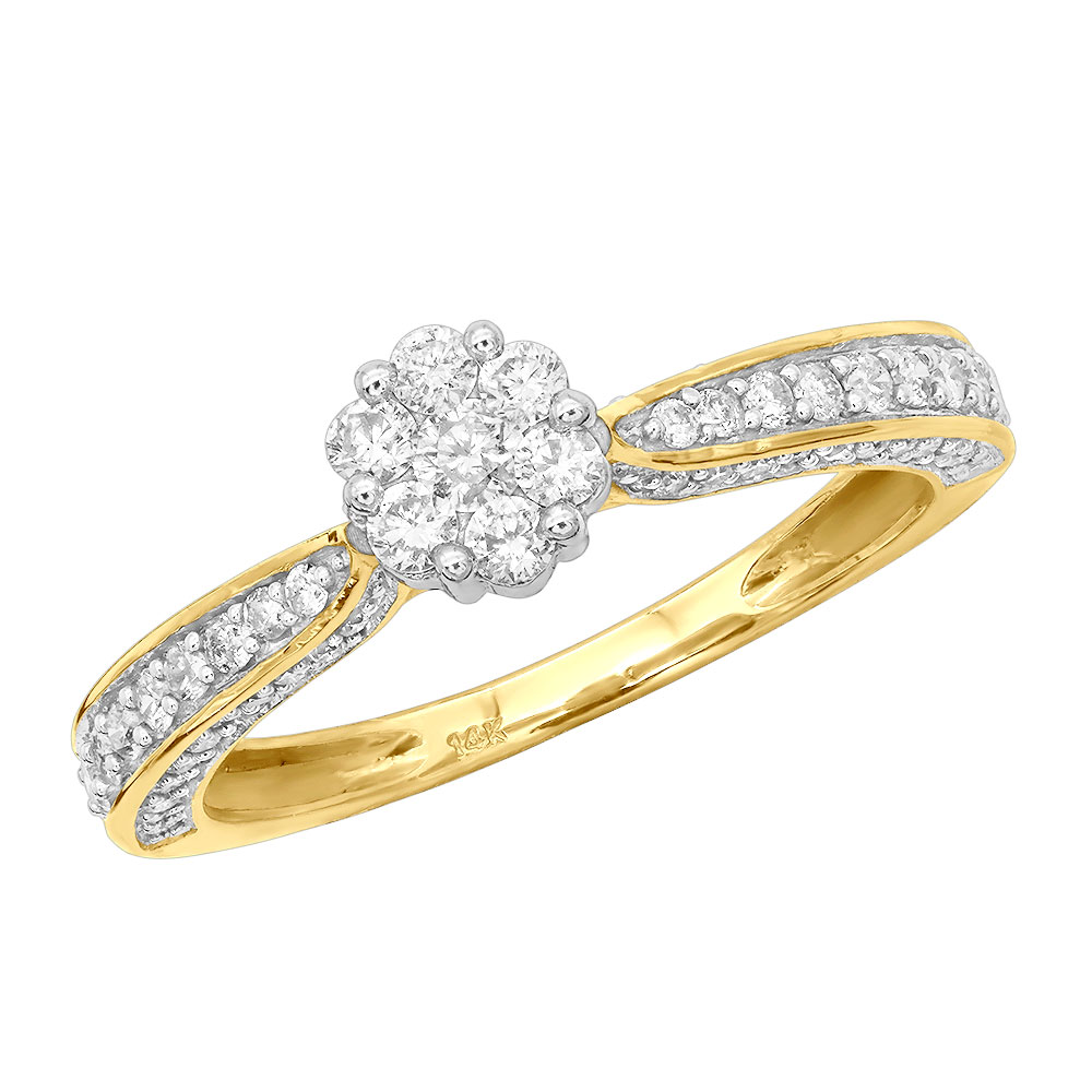 Ladies Diamond Rings 14K Gold Affordable Cluster Diamond Engagement Ring 0.73ct Main Image
