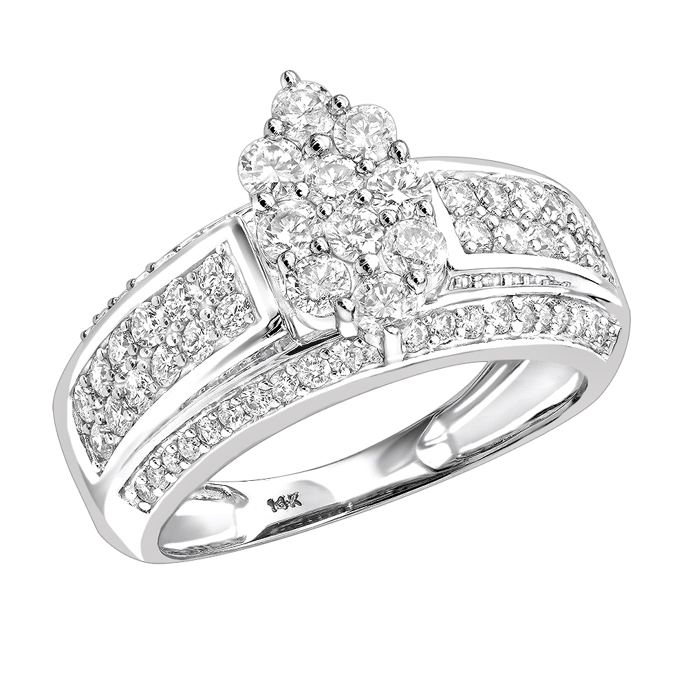 Ladies Diamond Rings 14K Cluster Diamond Ring 1.55ct White Image