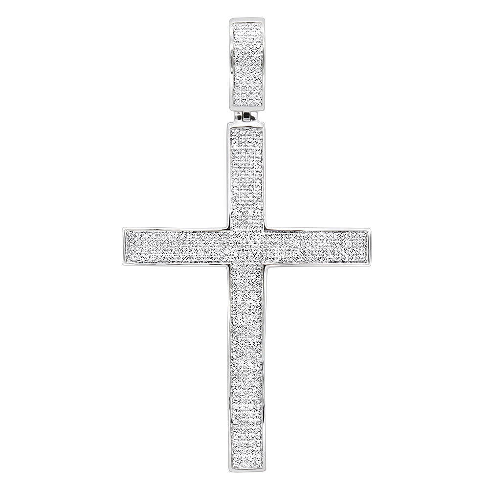 Large Mens Sterling Silver Diamond Cross Pendant 1.31ct White Image