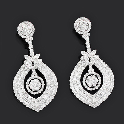 Luccello Jewelry Designer Diamond Earrings 866ct 18K Gold