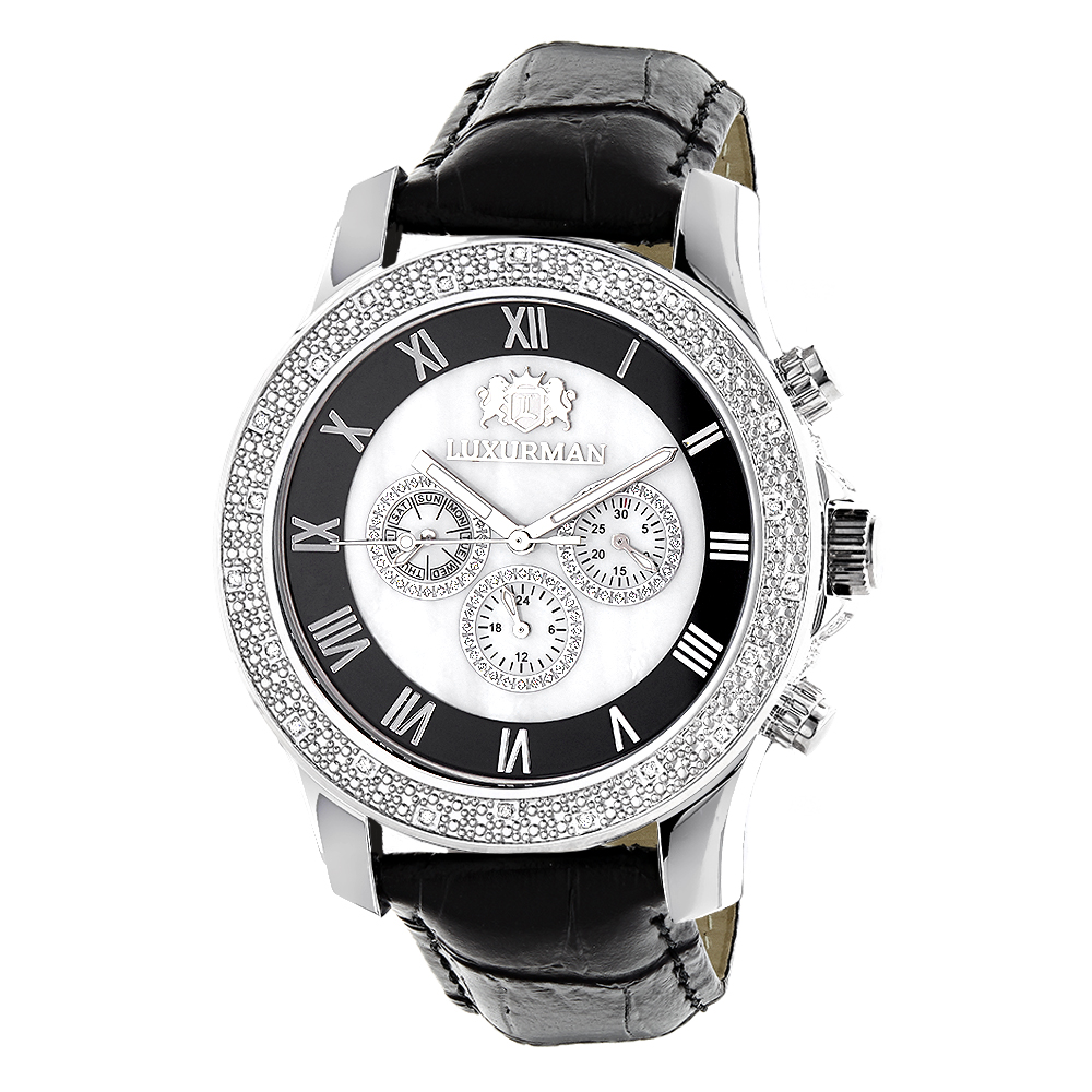 luxurman watches mens diamond watch freeze. Black Bedroom Furniture Sets. Home Design Ideas
