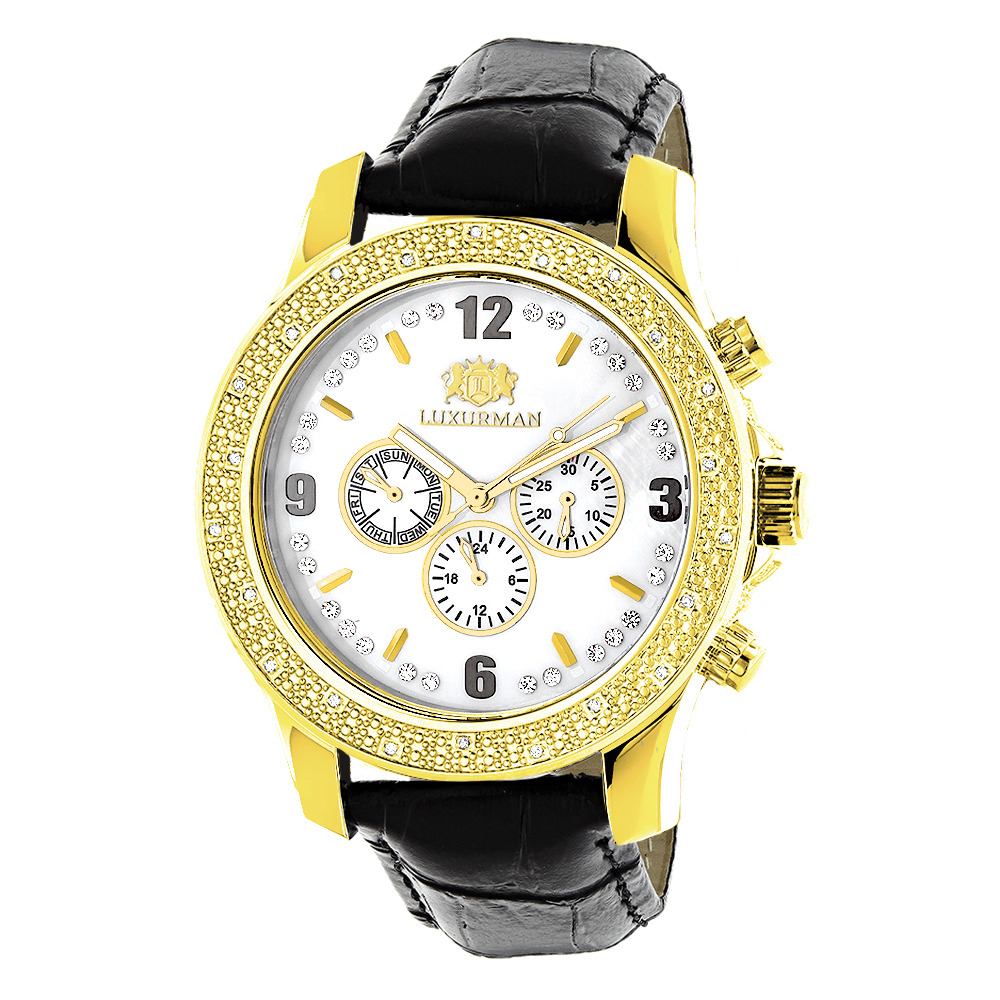 luxurman watches mens diamond watch yellow. Black Bedroom Furniture Sets. Home Design Ideas