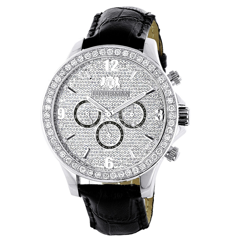 luxurman watches mens diamond watch 3ct. Black Bedroom Furniture Sets. Home Design Ideas
