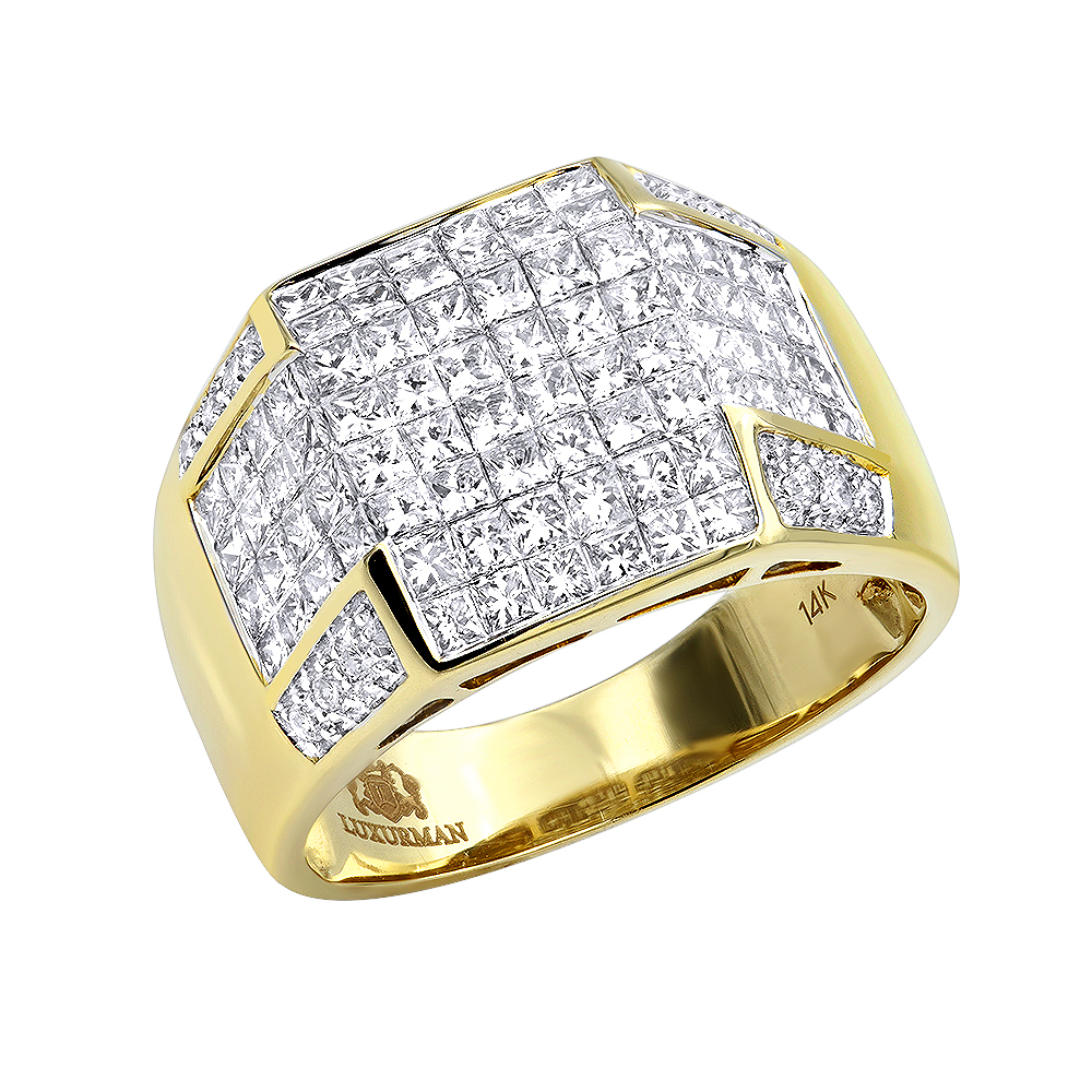 Mens 14K Gold Invisible Set Princess Cut Ring 3 Carats Yellow Image