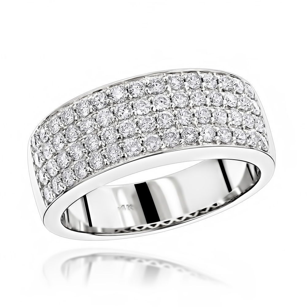 Mens 4 Row Diamond Wedding Band 139ct 14K Gold