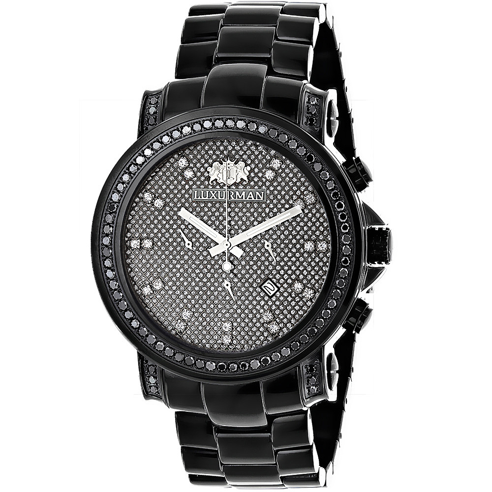 mens black diamond watch 3ct luxurman oversized watches. Black Bedroom Furniture Sets. Home Design Ideas