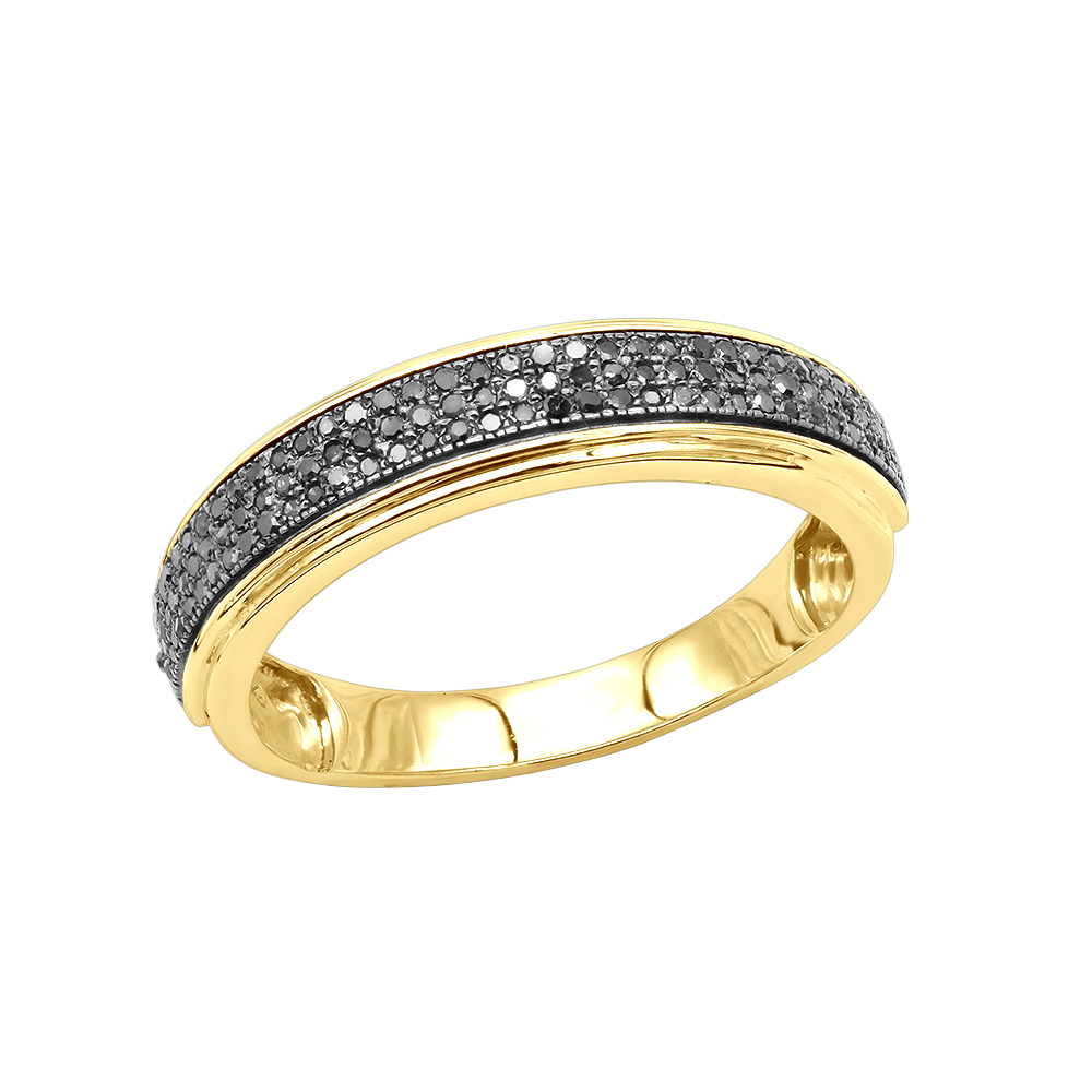 Mens Black Diamond Wedding Band 0.28ct 14K Gold Yellow Image