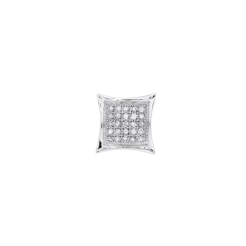 Mens Diamond Earring 0.09ct 10K Gold Stud White Image