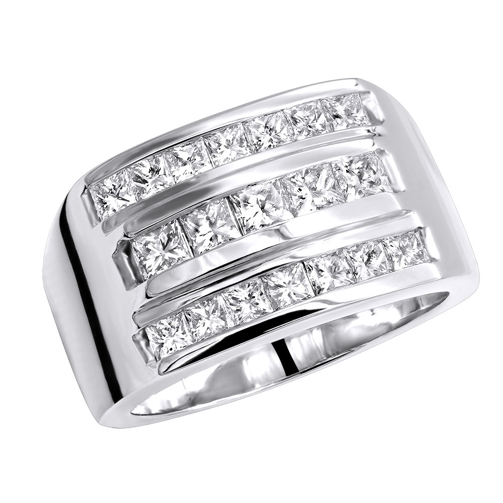 Men's Diamond Ring 18K Gold 2.62ct Princess Cut Diamonds Main Image