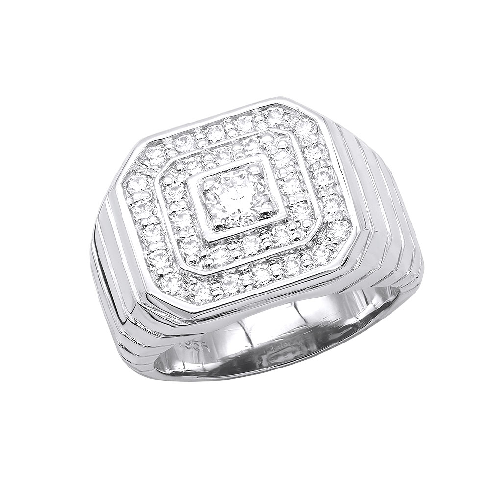 Mens Diamond Ring in Platinum 1.31ct VS Quality Statement Ring White Image
