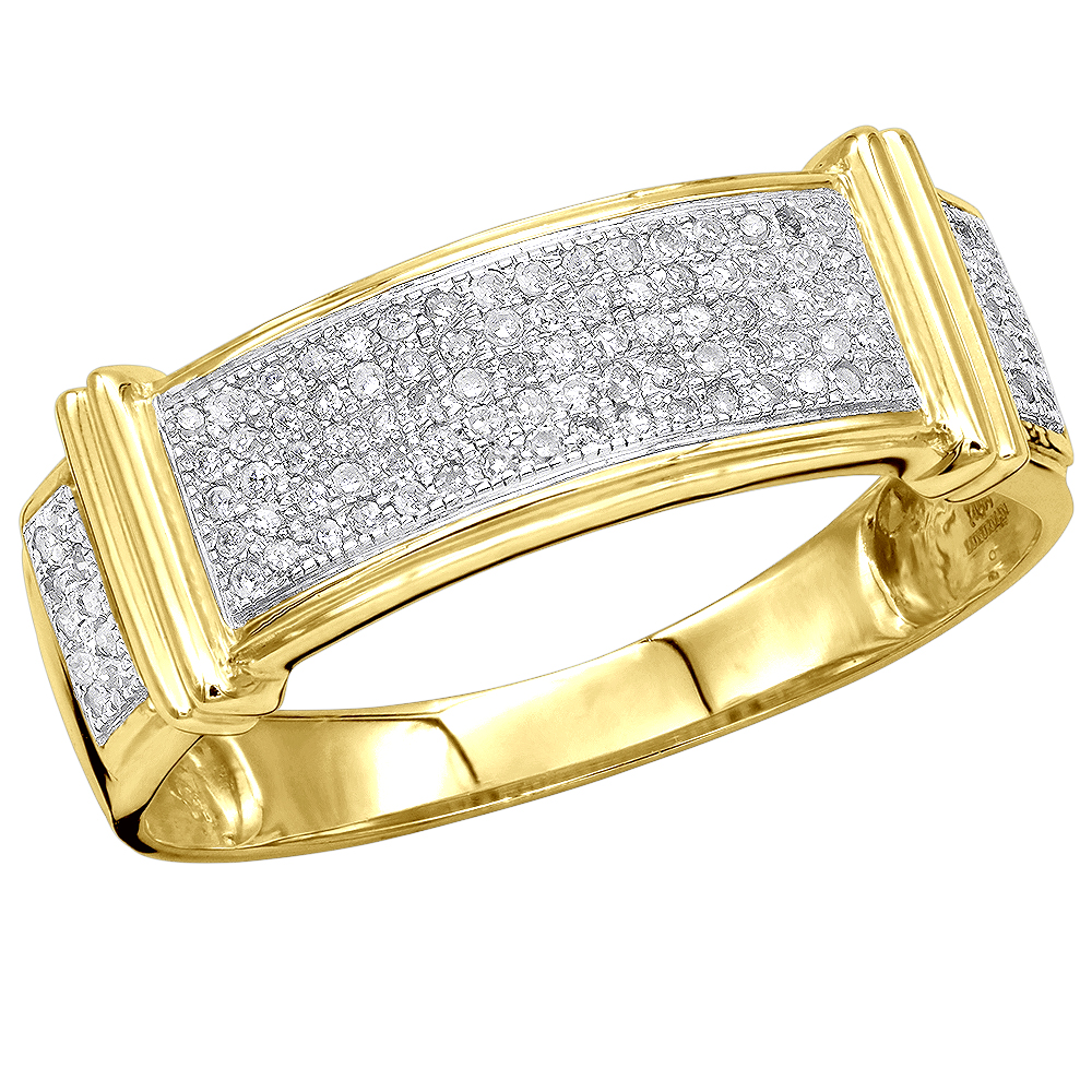 Mens Diamond Wedding Band 10K Gold 0.33ct Yellow Image