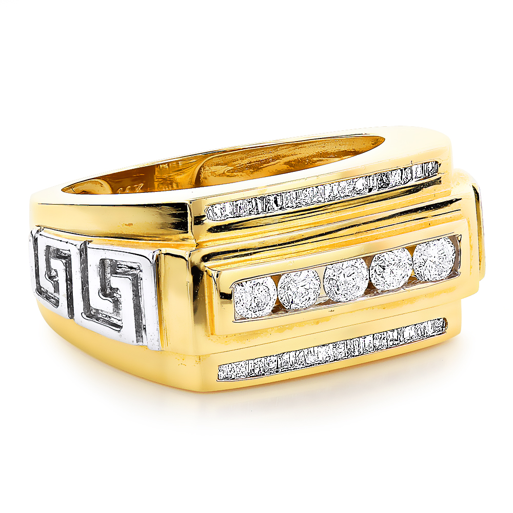 Mens Rings 14K Gold Mens Baguette Diamond Ring 097