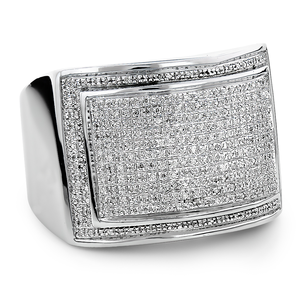 Mens Silver Ring with Diamonds 086ct