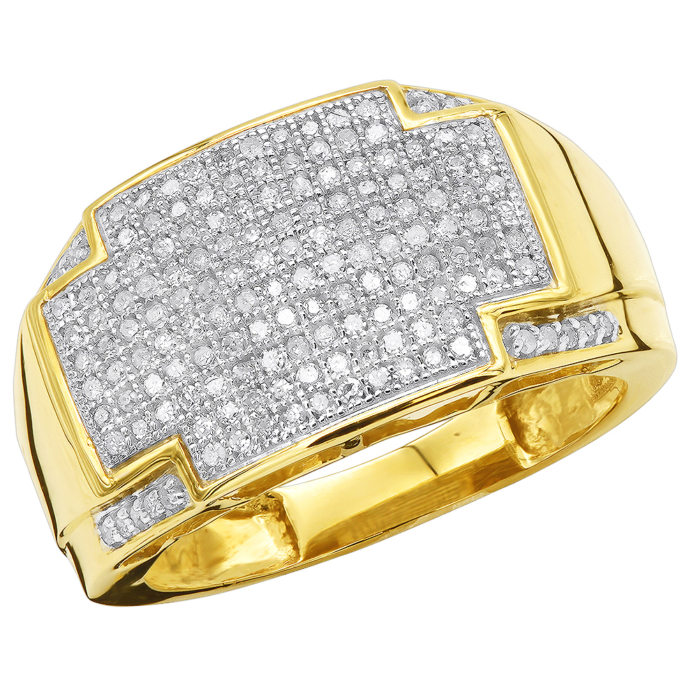 0.23 Ct Genuine Diamond Pave Wedding Mens Band Ring 10K Yellow Gold