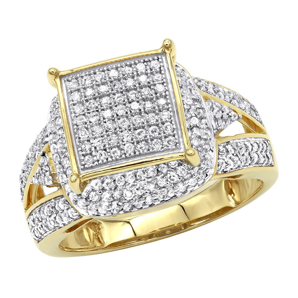 Affordable Pave Diamond Engagement Ring 14K Gold 0.75ct Yellow Image