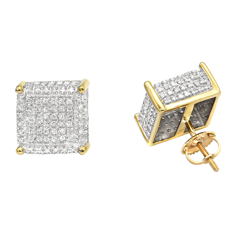 1 Carat Pave Diamond Stud Earrings 10K Gold Cube Shape Yellow Image