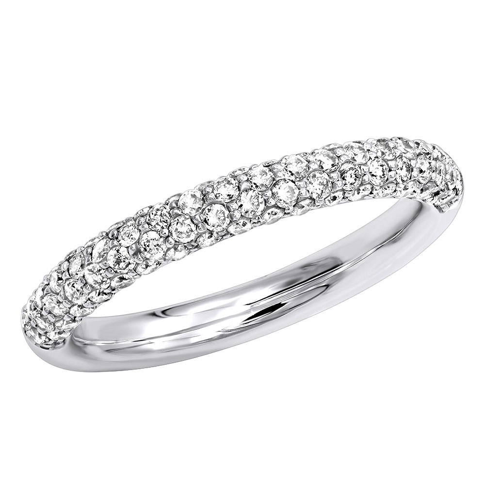Thin Pave Diamond Wedding Band 0.86ct 14K Gold White Image