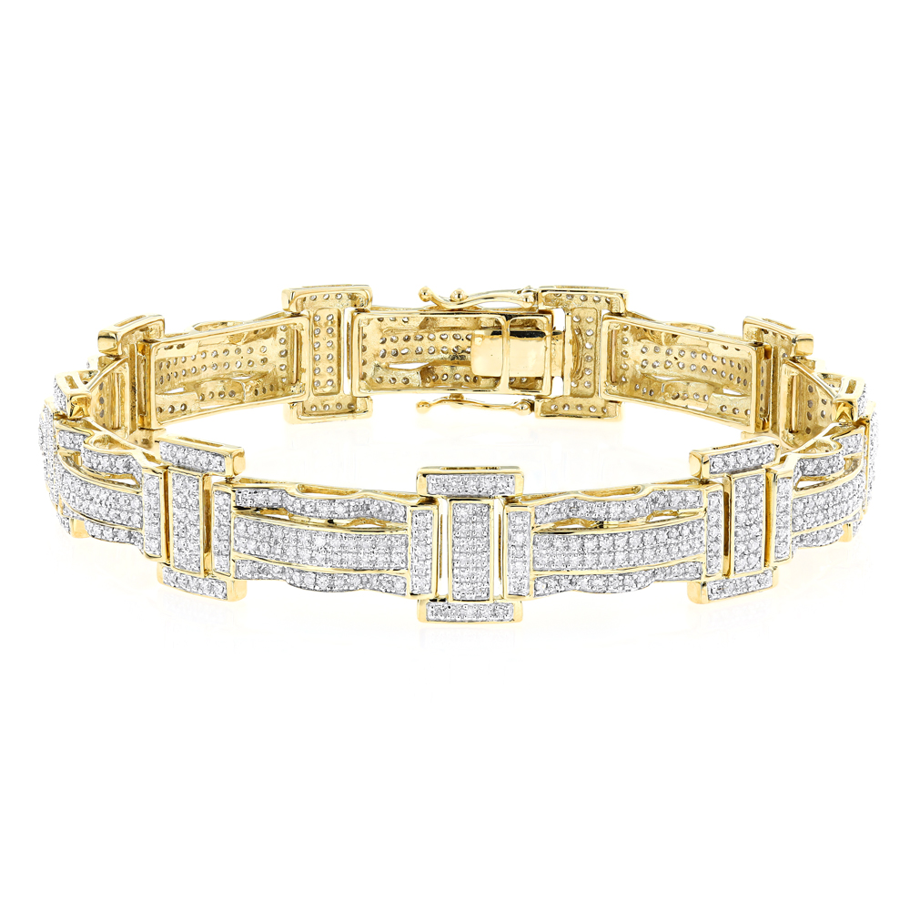 Pave Real Diamond Bracelet for Men 10K Gold 3.18ct Yellow Image