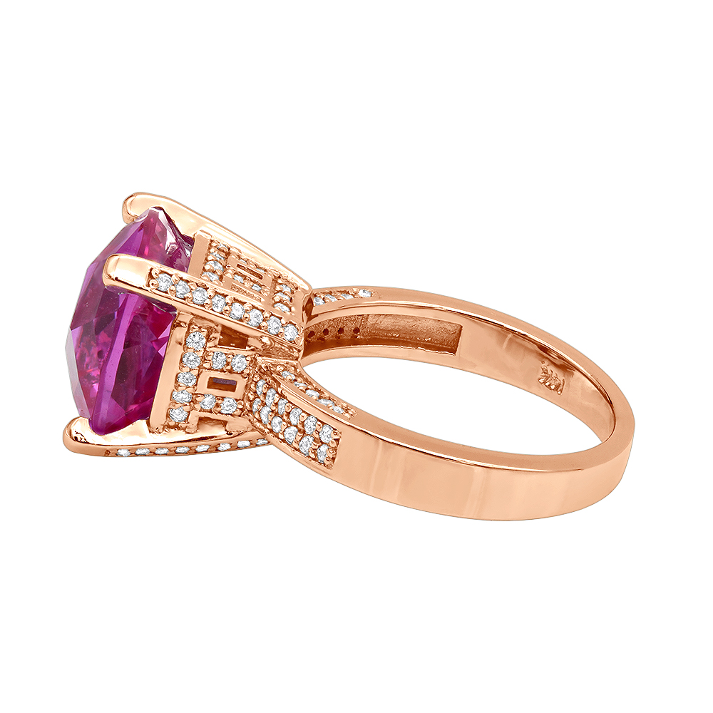 Pink Sapphire Diamond Rings for Women 14K Gold Cocktail Ring 0.55ct