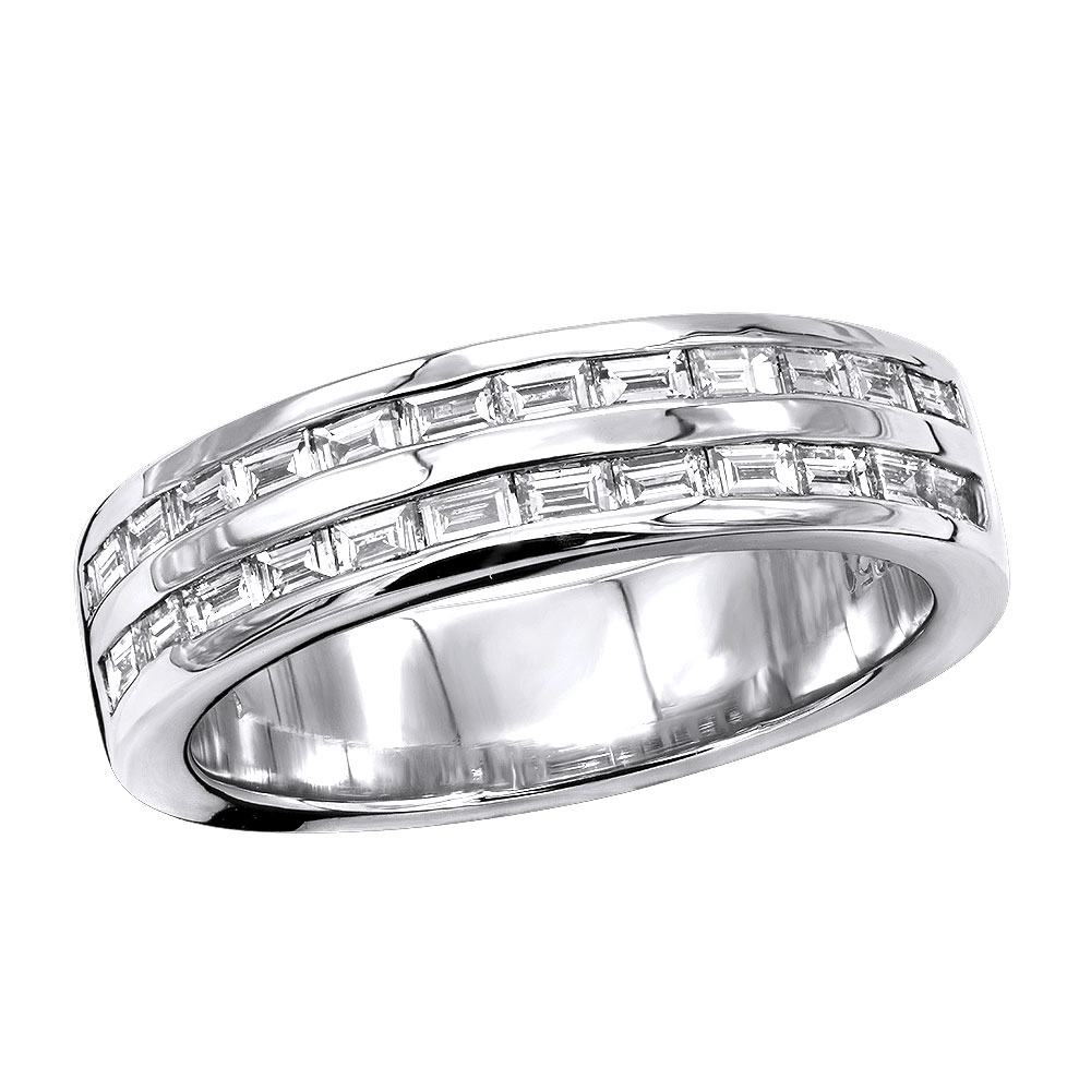 Platinum Baguette Diamond Men's Wedding Ring 1.10ct Main Image