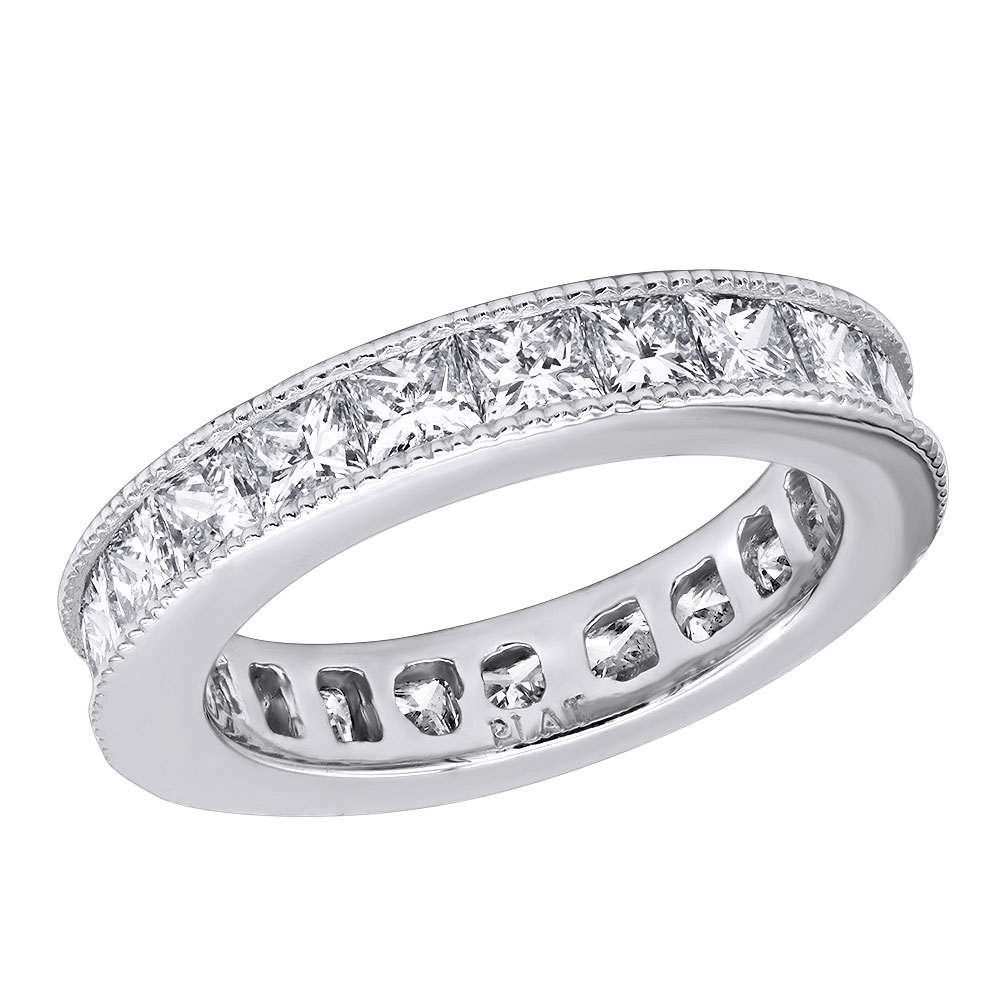 Platinum Princess Cut Diamond Eternity Ring 3.74ct White Image