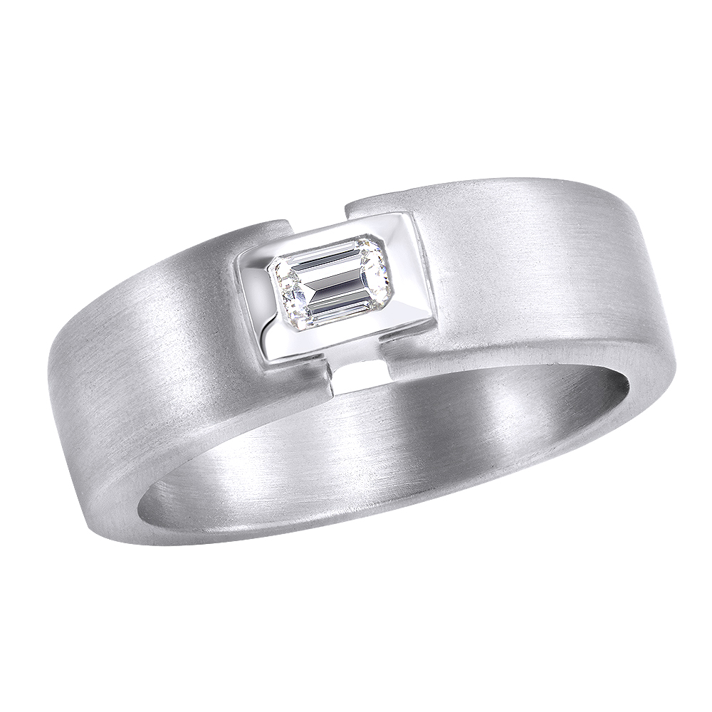 Platinum Emerald Cut Diamond Men's Wedding Ring 0.25ct Platinum Emerald Cut Diamond Men's Wedding Ring 0.25ct