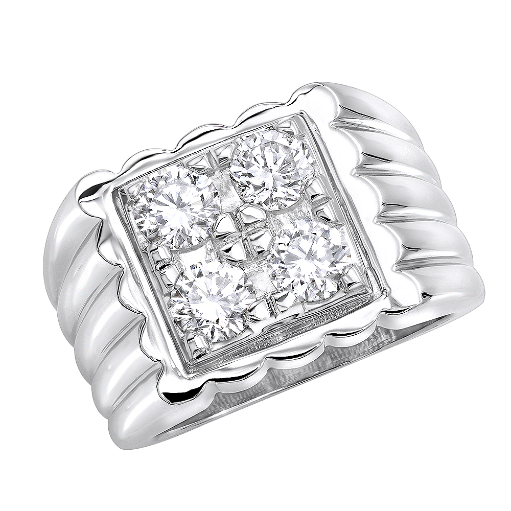 Platinum Men's Diamond Ring 1.60ct