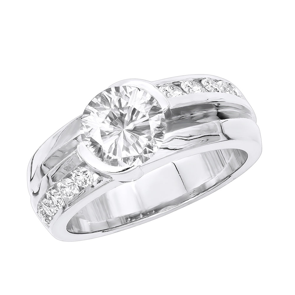 Platinum Mens 3 Carat Solitaire G/VS Diamond Ring White Image