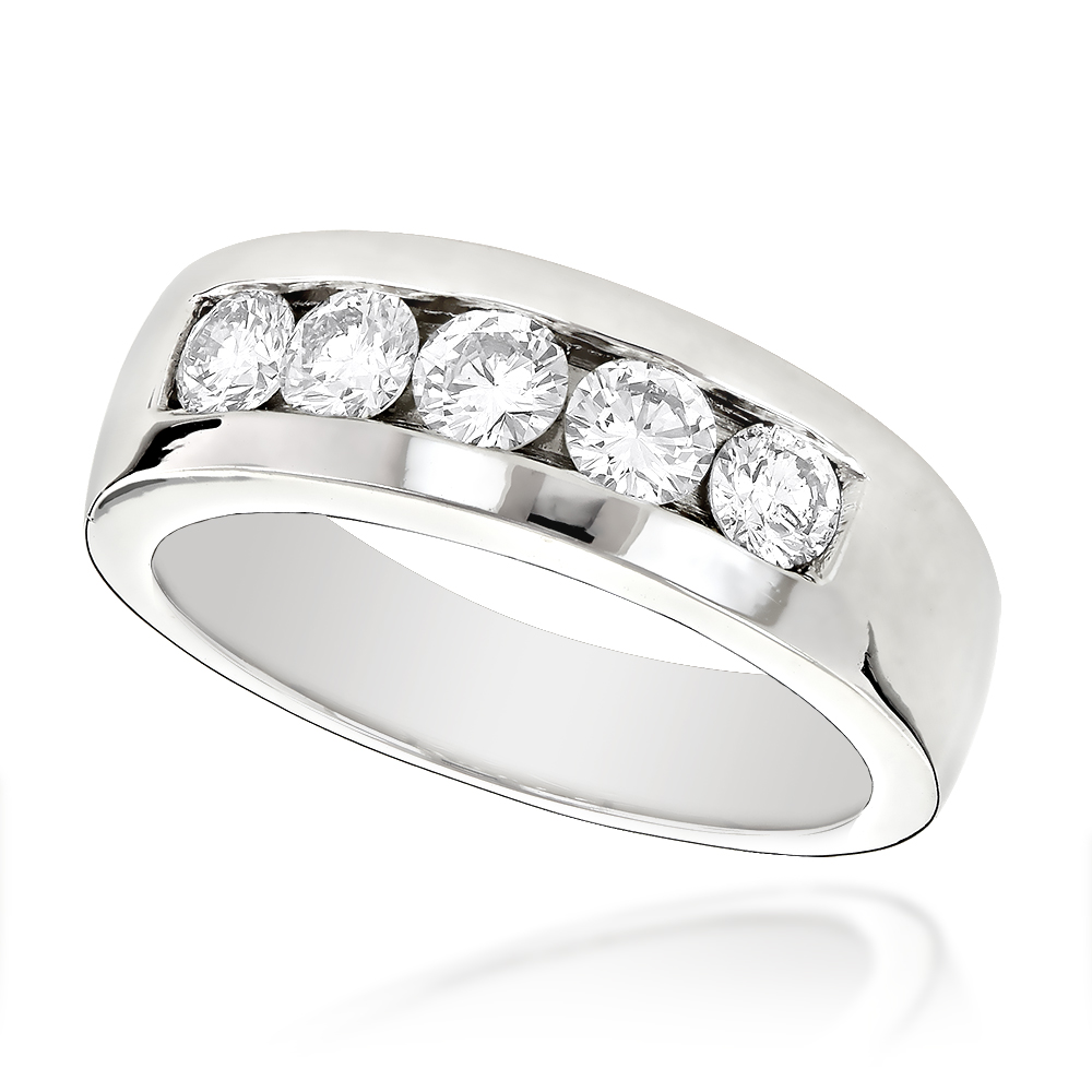 platinum mens diamond wedding ring 1ct - Mens Diamond Wedding Rings
