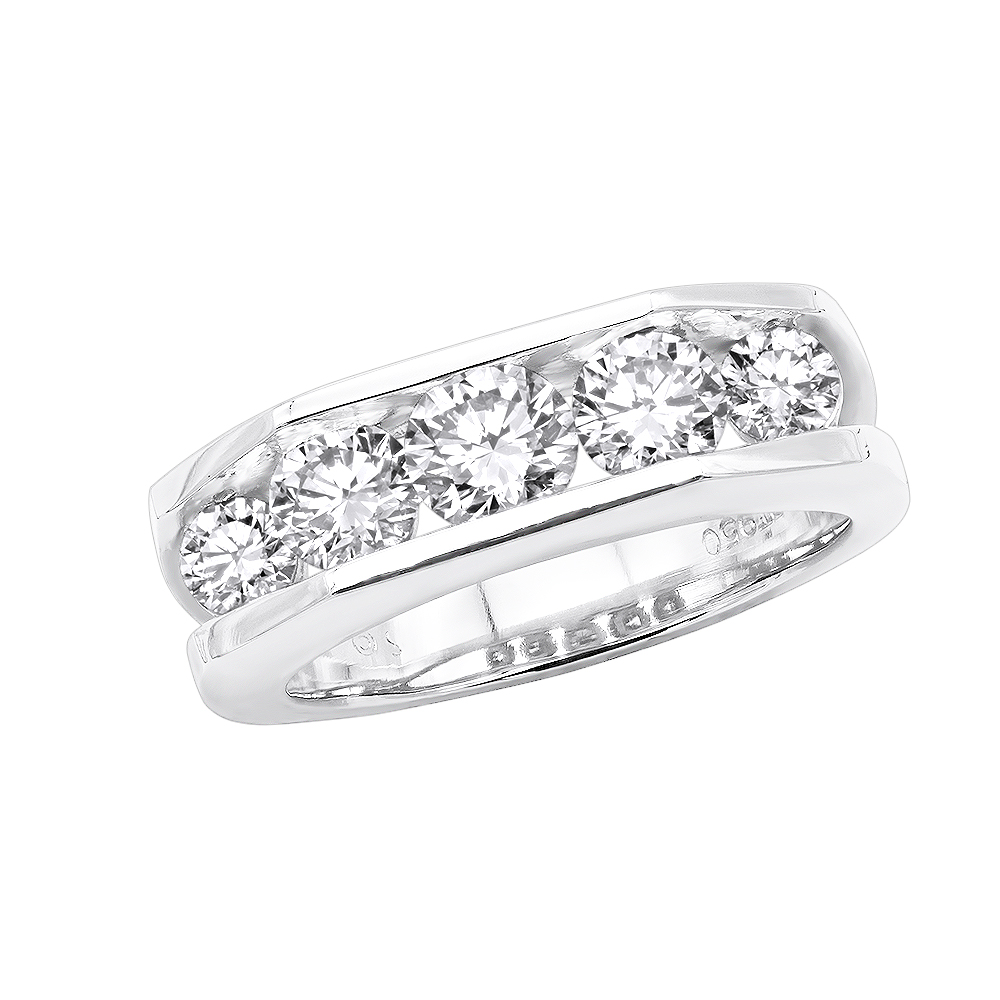 5 Stone Platinum Mens Diamond Wedding Ring 2.45ct VS Anniversary Band White Image