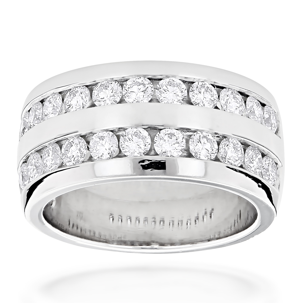 Platinum Round Diamond Mens Wedding Ring 208ct
