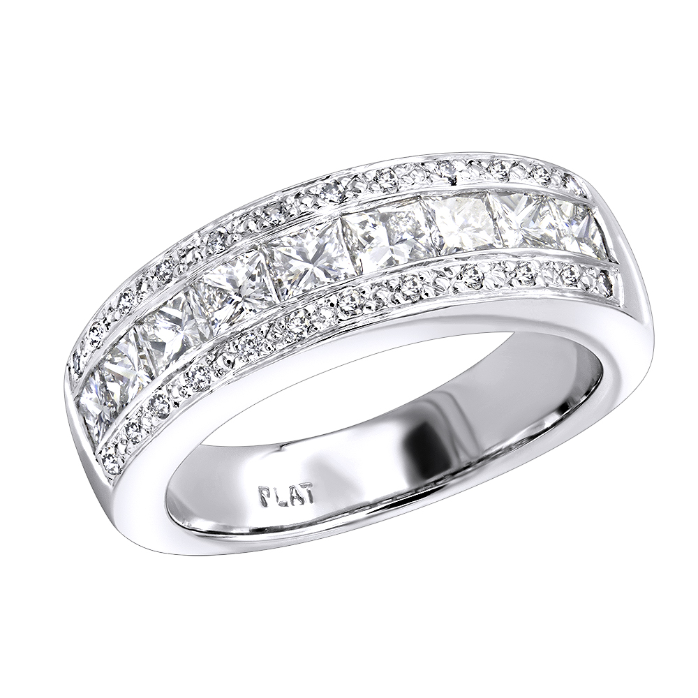 Platinum Women's Diamond Wedding Ring 1.65ct White Image