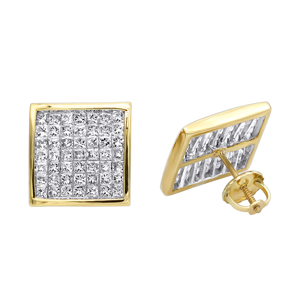 Princess Cut Diamond Earrings 1.85ct 14K Yellow Image