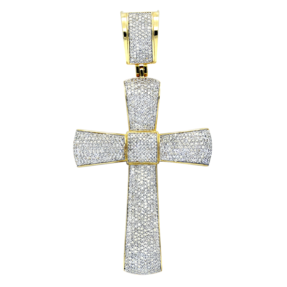 Puffed Gold Diamond Cross Pendant 3.25ct 10K Gold Yellow Image