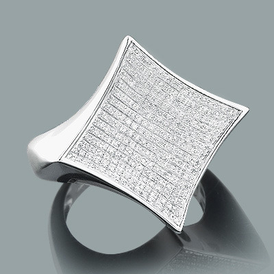 Real Hip Hop Jewelry Mens Silver Diamond Ring 0 53ct