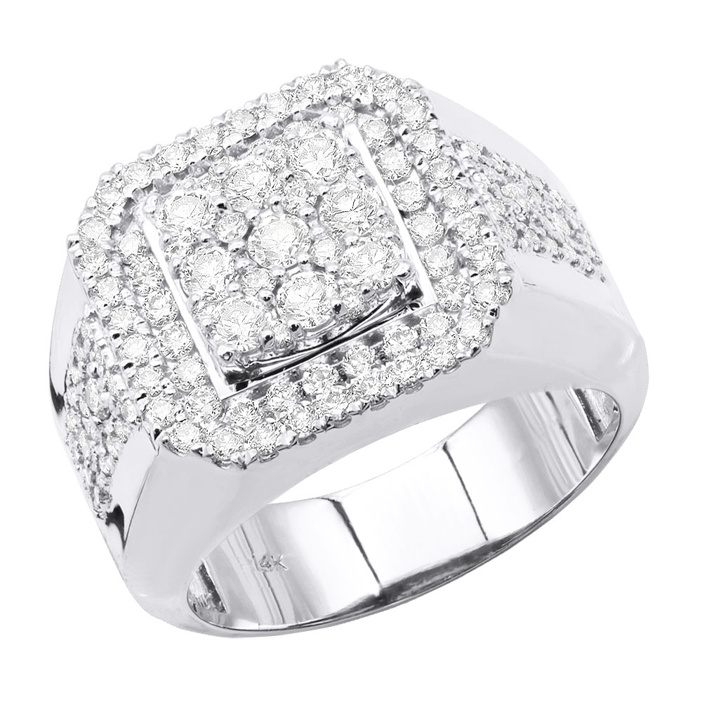 Real Hip Hop Jewelry: Square Mens Diamond Ring 3ct 14K Gold White Image