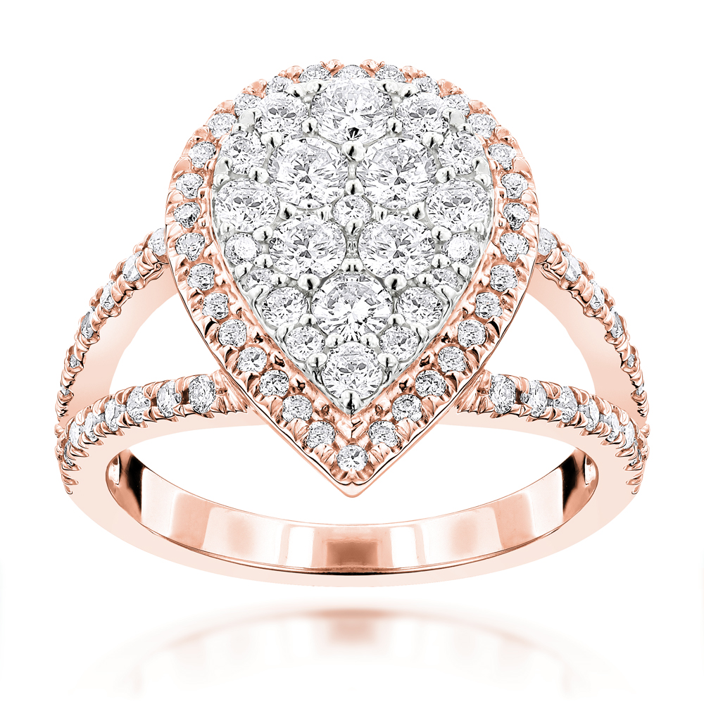 Rose Gold Jewelry Pear Shaped Diamond Ring for Women 155ct 14K