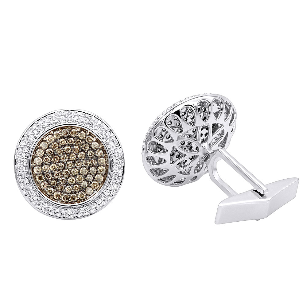 Round Champagne and White Diamond Mens Cufflinks 14K Gold White Image