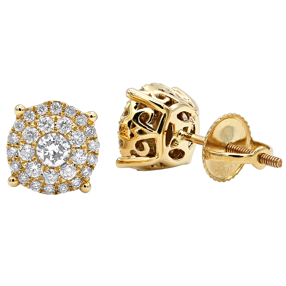 Round Diamond Stud Earrings 14K Gold 0.76ct Pave Cluster Design Yellow Image