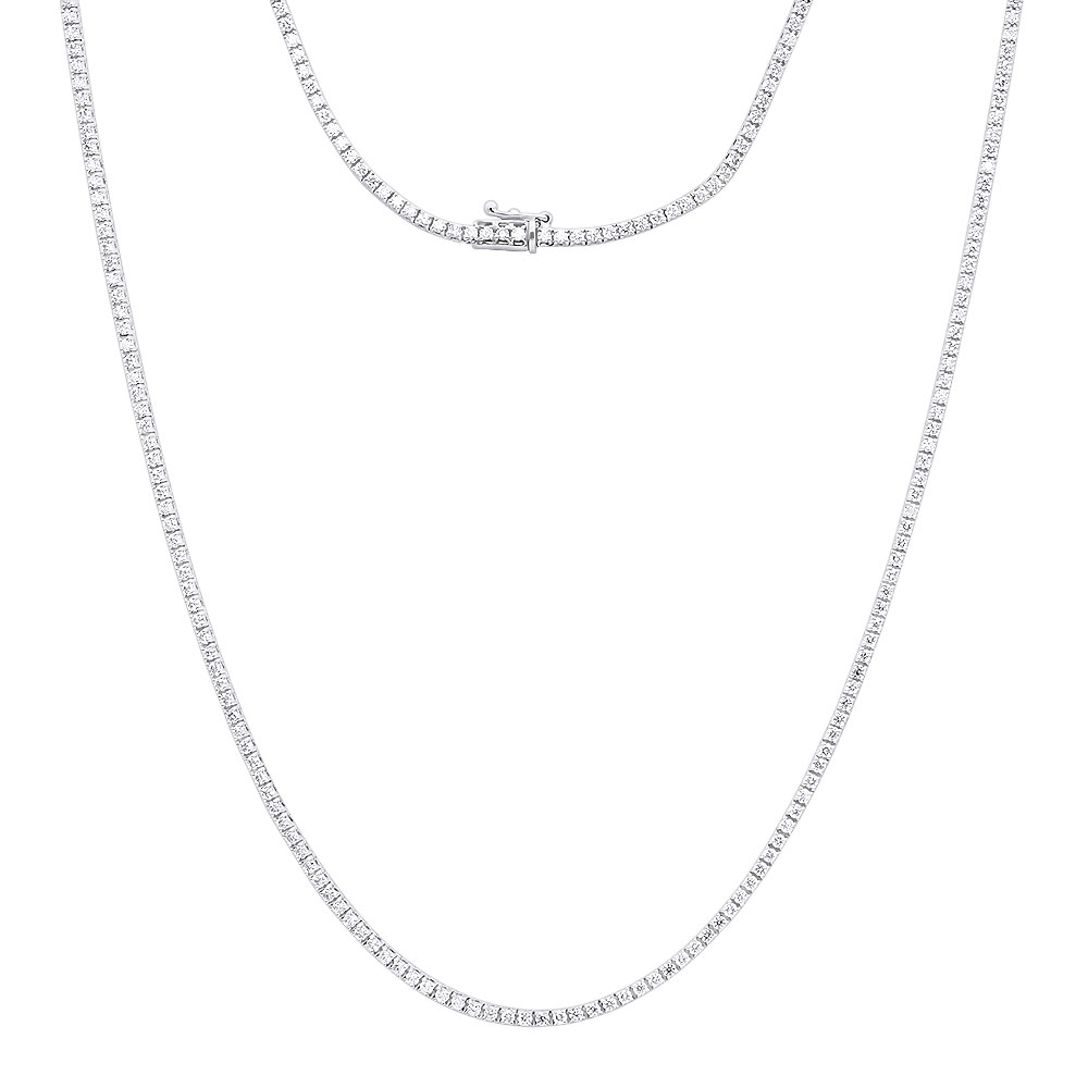 Round Diamond Tennis Necklace Mens Chain 14K Gold 32 in 14.06ct White Image